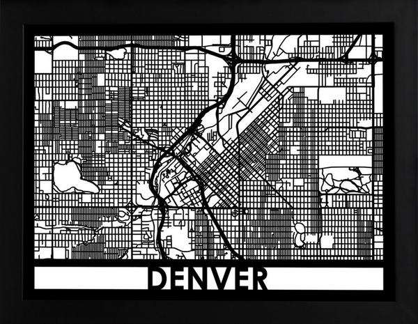 Denver Laser Cut Map, Art  - Bachelor Haus