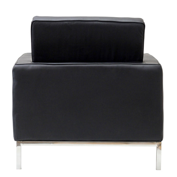 Mid-century Black Leather Armchair, Chair  - Bachelor Haus