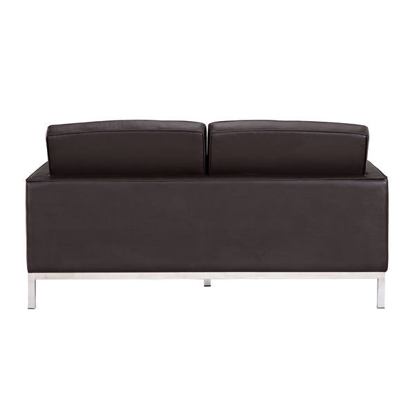 Mid-century Black Leather Loveseat, Loveseat  - Bachelor Haus