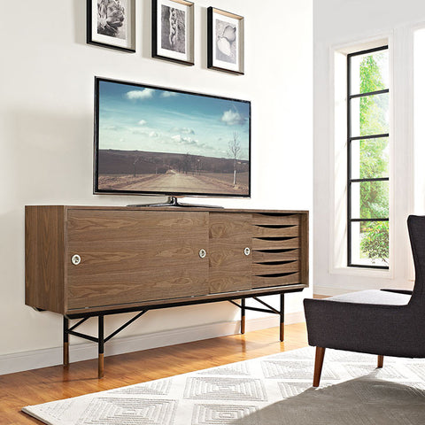 Mid-century walnut entertainment center
