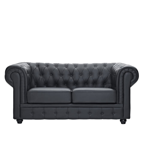 Black Chesterfield Loveseat, Loveseat  - Bachelor Haus