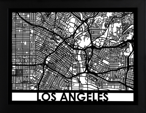 Los Angeles Laser Cut Map, Art  - Bachelor Haus