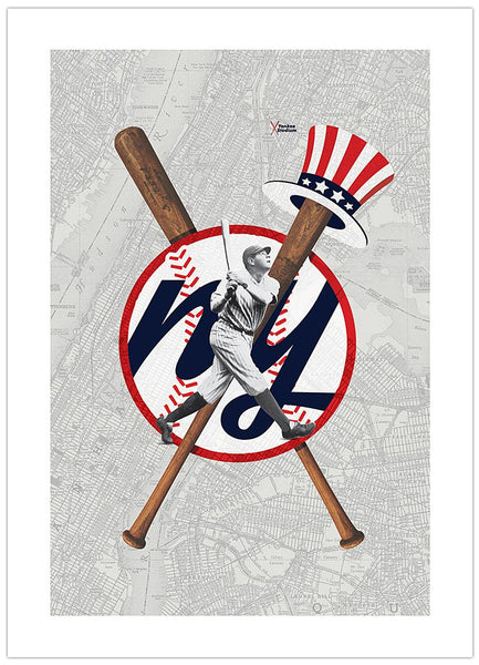 NEW YORK YANKEES-INSPIRED BASEBALL ART PRINT