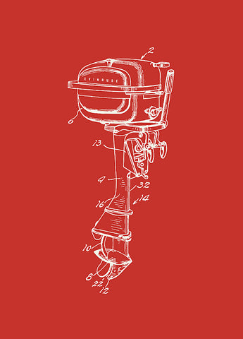1951 Evinrude Outboard Motor Patent in Red, Artwork  - Bachelor Haus