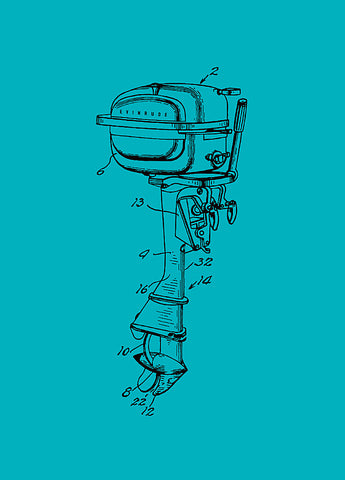 1951 Evinrude Outboard Motor Patent in Blue, Artwork  - Bachelor Haus