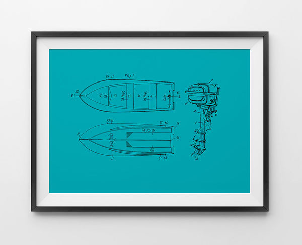 1951 Boat Frame and Evinrude Outboard Patent, Artwork  - Bachelor Haus