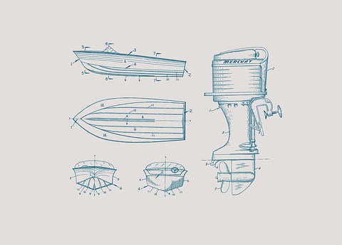 1960 Mercury Outboard and Boat Frame Patent Print, Artwork  - Bachelor Haus