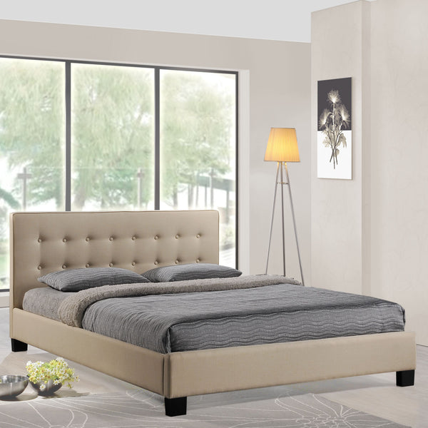 Catilin Beige Queen bed frame, Bed frame   - Bachelor Haus