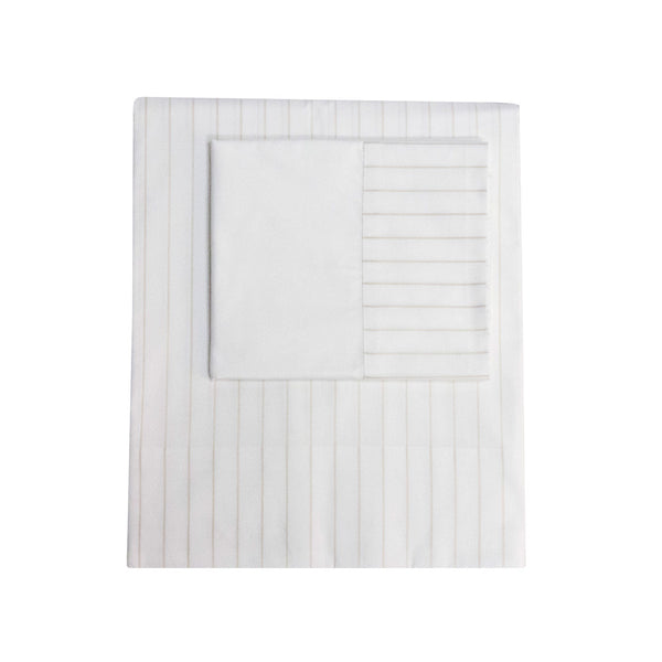 Queen Oxford stripe collection limestone, Linens  - Bachelor Haus