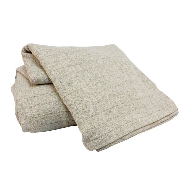 Queen Oxford stripe collection limestone with matching blanket, Linens  - Bachelor Haus