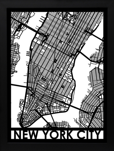 New York Laser Cut Map, Art  - Bachelor Haus