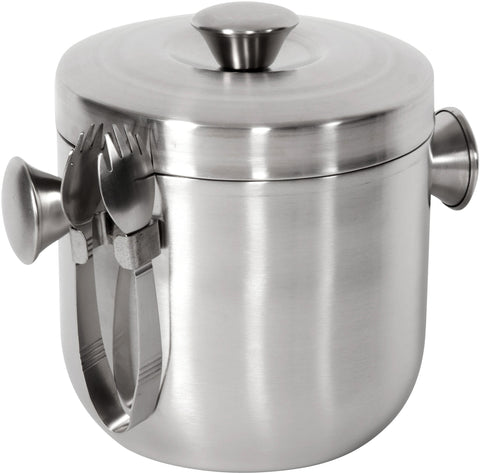 Brushed Stainless-Steel Ice Bucket and Tongs Set, Barware  - Bachelor Haus