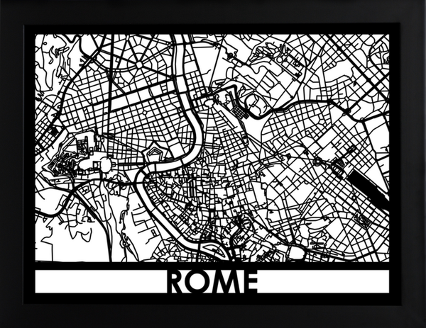 Rome Laser Cut Map, Art  - Bachelor Haus