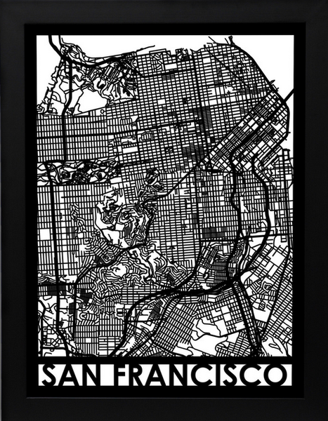 San Francisco Laser Cut Map, Art  - Bachelor Haus
