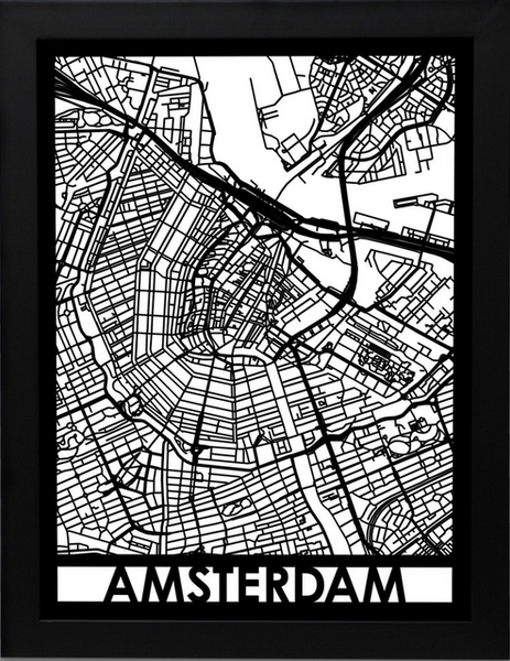 Amsterdam Laser Cut Map, Art  - Bachelor Haus