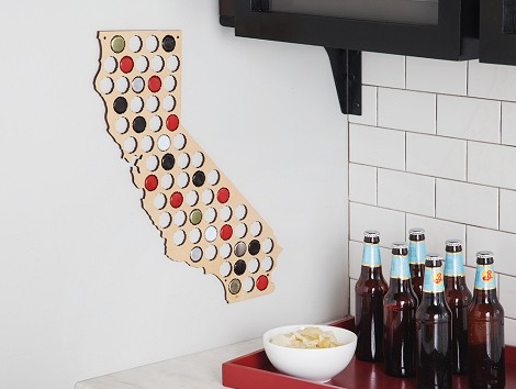 California Beer Cap Map, art  - Bachelor Haus