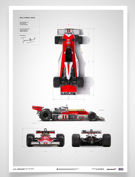 The artwork depicts the blueprint annotations of Hunt's McLaren M23.