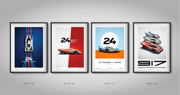 This set of 4 Limited Edition prints celebrates Porsche's first victory at the Le Mans with 917K.