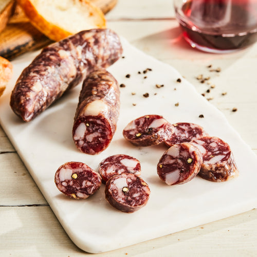 Image of Fuet salami. 1 link, 3 oz. a Spanish-style pork salami with black pepper, garlic, and white wine