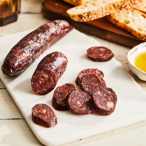 Image of Morcilla Iberia. 1 link, 3 oz. a cured pork blood salami