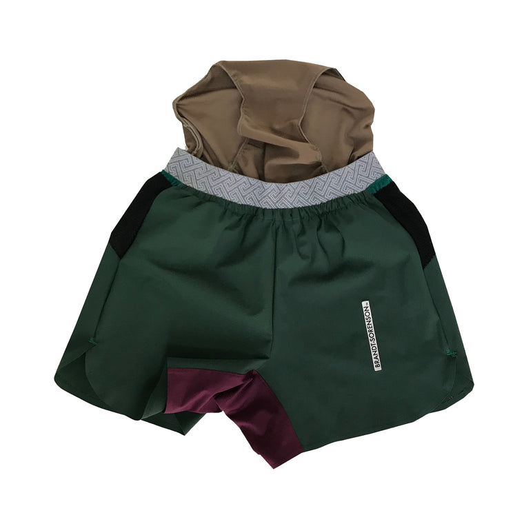 Colorblock Run Shorts: Forest Green/Purple