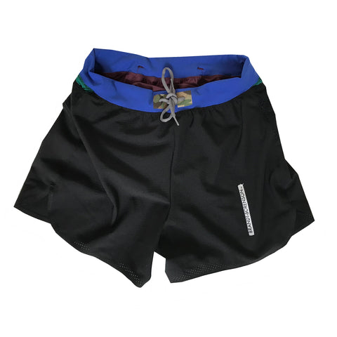 Colorblock Mesh Run Shorts: Blue/Orange/Multicam