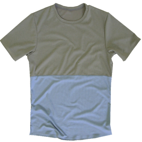 Split Shirt: Taupe/Powder Blue