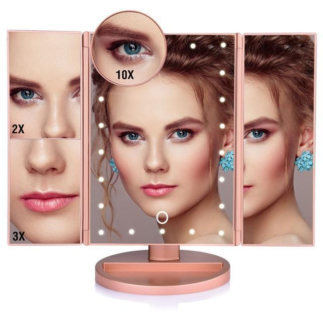 YourWorldShop United States / 22 Lights Fold Gold Touch Screen Led Makeup Mirror™ 4813109-united-states-22-lights-fold-gold