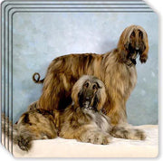 Afghan Hound Rubber Coaster Set