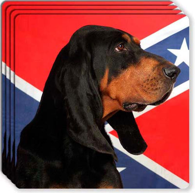 Black & Tan Coonhound Rubber Coaster Set