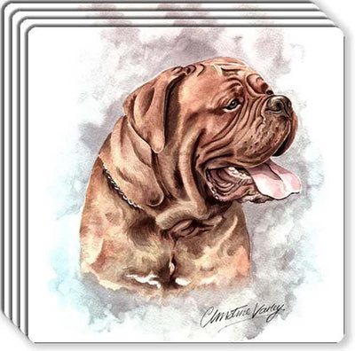 Dogue De Bordeaux Rubber Coaster Set