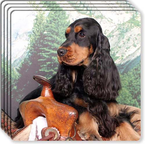 English Cocker Spaniel Rubber Coaster Set