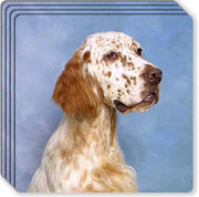 English Setter Rubber Coaster Set