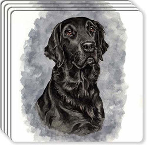 Flat Coated Retriever Rubber Coaster Set