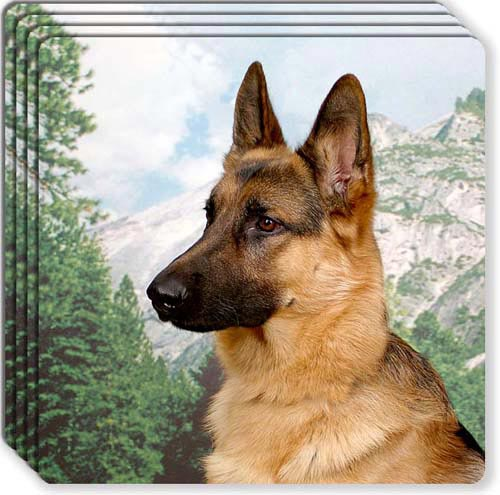 German Shepherd Rubber Coaster Set