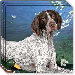 German Shorthair Pointer Rubber Coaster Set