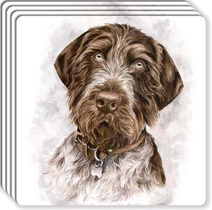 German Wirehair Pointer Rubber Coaster Set