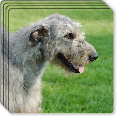 Irish Wolfhound Rubber Coaster Set