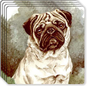 Pug Rubber Coaster Set