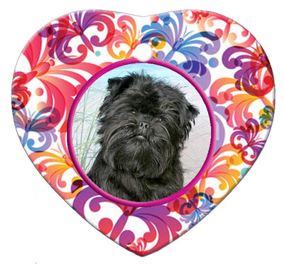 Affenpinscher Porcelain Heart Ornament - Butterfly
