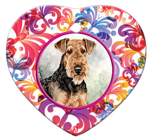 Airedale Terrier Porcelain Heart Ornament - Butterfly