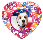 American Bulldog Porcelain Heart Ornament - Butterfly