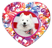 American Eskimo Porcelain Heart Ornament - Butterfly