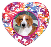 American Foxhound Porcelain Heart Ornament - Butterfly