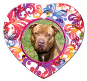 American Pitbull Porcelain Heart Ornament - Butterfly