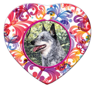 Australian Cattle Dog Porcelain Heart Ornament - Butterfly