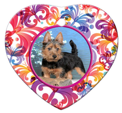 Australian Terrier Porcelain Heart Ornament - Butterfly