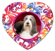 Bearded Collie Porcelain Heart Ornament - Butterfly