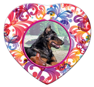 Beauceron Porcelain Heart Ornament - Butterfly
