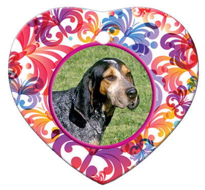 Blue Tick Coonhound Porcelain Heart Ornament - Butterfly